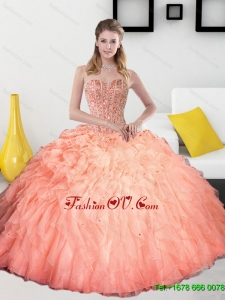 2015 Pretty Beading and Ruffles Sweetheart Quinceanera Dresses