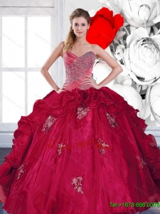 2015 Pretty Sweetheart Ball Gown Quinceanera Dresses with Appliques