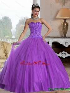 2015 Pretty Sweetheart Ball Gown Quinceanera Dresses with Beading