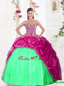 2015 Pretty Sweetheart Quinceanera Gown with Beading and Pick Ups