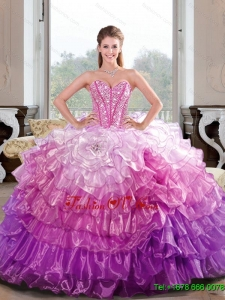 2015 Sweet Sixteen Beading and Ruffled Layers Multi Color Dresses for Quince