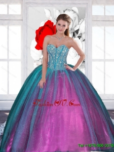 2015 Wonderful Sweetheart Sweet Sixteen Dresses with Beading
