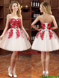 2016 Affordable Hot Sale Mini Length Appliques Bridesmaid Dresses in White