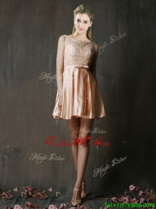 Affordable Best Selling Laced and Belted Short Bridesmaid Dress in Peach