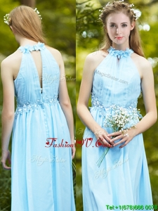 Affordable Halter Top Light Blue Bridesmaid Dresses with Appliques