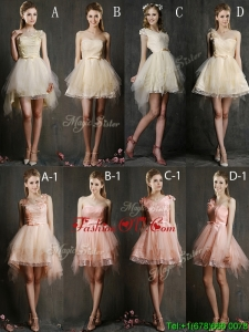 Affordable Hot Sale Mini Length Tulle Bridesmaid Dresses with Belt