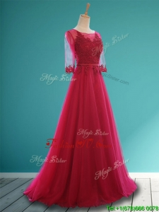 Affordable Scoop Appliques and Belt Bridesmaid Dresses in Wine Red