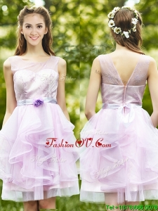 Affordable See Through Scoop Short Bridesmaid Dresses with Sashes and Ruffles