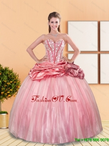 Designer 2015 Beading and Pick Ups Sweetheart Quinceanera Dresses in Rose Pink