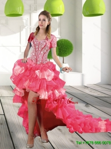 Designer Coral Red High Low Sweet 16 Dresses with Beading and Ruffled Layers