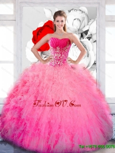 Designer Strapless 2015 Quinceanera Gown with Ruffles and Appliques