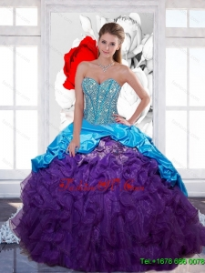 Designer Sweetheart Beading and Ruffled Layers Quinceanera Gown for 2015 Spring