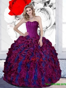 New Style Beading and Ruffles Sweetheart 2015 Quinceanera Dresses in Multi Color