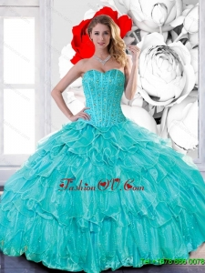 New Style Sweetheart 2015 Quinceanera Dresses with Beading and Ruffled Layers