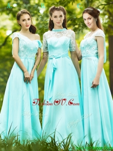 Lovely Chiffon Empire Long Bridesmaid Dress in Apple Green