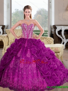 Luxurious Sweetheart 2015 Sweet Sixteen Dresses with Beading and Pick Ups