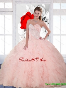 Pretty Beading and Ruffles Sweetheart Quinceanera Gown for 2015