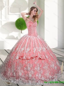Pretty Sweetheart 2015 Quinceanera Gown with Beading and Lace
