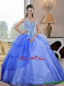 Sweet Sixteen Spaghetti Straps 2015 Quinceanera Dresses with Beading