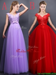 Unique V Neck Tulle Bridesmaid Dresses with Beading and Bowknot