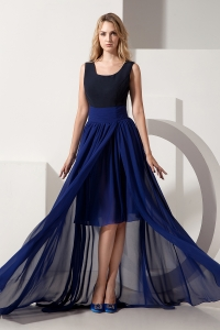 Prom Dress Navy Blue High-low Scoop Chiffon Empire