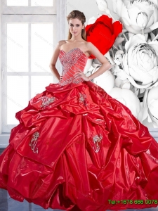 2015 Beading and Appliques Red Sweet Sixteen Dresses with Brush Train and Pick Ups