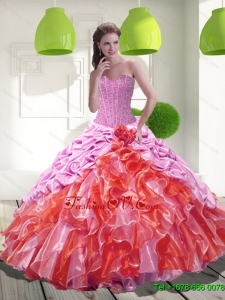 2015 Classical Pick Ups and Ruffles Sweet Sixteen Dresses in Multi Color
