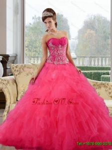 2015 Gorgeous Ball Gown Sweet Sixteen Dresses with Ruffles and Appliques