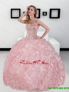 2015 Luxurious Sweetheart Ball Gown Sweet Sixteen Dresses with Beading and Ruffles