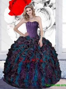 2015 Pretty Beading and Ruffles Sweet Sixteen Dresses in Multi Color