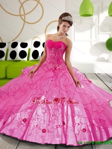 2015 Sturning Hot Pink Ball Gown Sweet Sixteen Dresses with Appliques