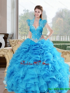 Beautiful Beading and Ruffles Sweetheart 2015 Sweet Sixteen Dresses in Baby Blue