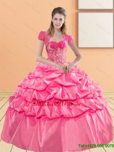 Delicate Sweetheart 2015 Sweet Sixteen Dresses with Appliques and Pick Ups