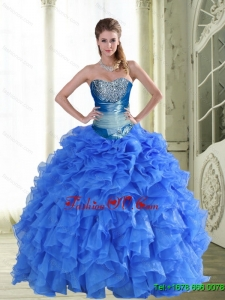 Gorgeous Beading and Ruffles Strapless Blue Sweet Sixteen Dresses for 2015 Spring