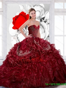 Gorgeous Sweetheart Wine Red 2015 Sweet Sixteen Dress with Appliques and Ruffles