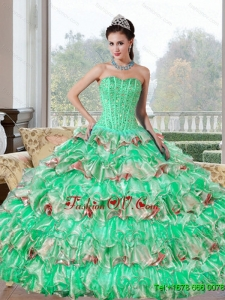 Popular Beading and Ruffled Layers Sweet Sixteen Dresses for 2015