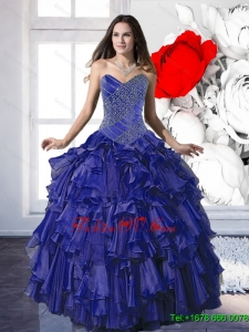 Remarkable 2015 Appliques and Ruffles Sweet Sixteen Dresses in Royal Blue