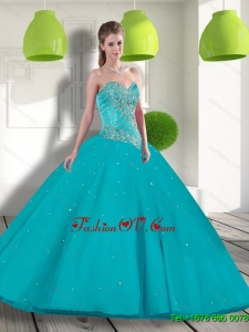 Suitable Sweetheart 2015 Sweet Sixteen Dress with Beading and Appliques