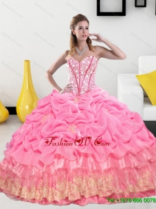 Unique Sweetheart 2015 Quinceanera Gown with Pick Ups and Beading