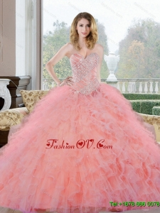 2015 Unique Beading and Ruffles Sweetheart Quinceanera Gown