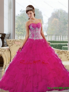 2015 Unique Sweetheart Quinceanera Gown with Appliques and Ruffles