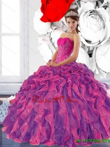 Unique Sweetheart 2015 Quinceanera Dress with Appliques and Ruffles