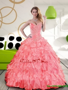 Unique Sweetheart 2015 Quinceanera Dress with Beading and Ruffles