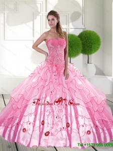 Unique Sweetheart 2015 Quinceanera Dresses with Appliques and Ruffled Layers