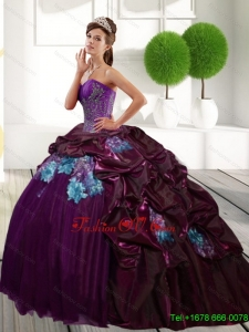 Unique Sweetheart 2015 Quinceanera Gown with Appliques and Pick Ups