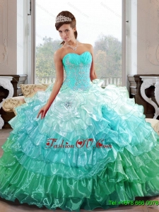 Unique Sweetheart 2015 Quinceanera Gown with Appliques and Ruffled Layers