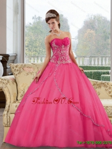 Unique Sweetheart Floor Length 2015 Quinceanera Gown with Appliques