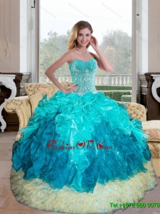 Unique Sweetheart Multi Color 2015 Quinceanera Gown with Appliques and Ruffles