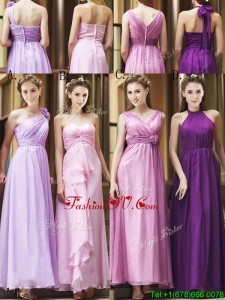 Classical Empire Ruched Chiffon Zipper Up Bridesmaid Dress in Ankle Length
