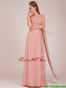 Elegant Empire One Shoulder Ruched Peach Long Bridesmaid Dress